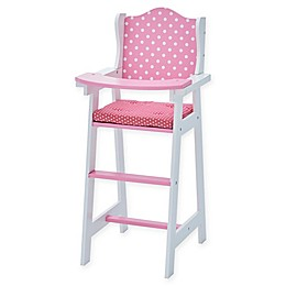 Olivia's Little World Classic Baby Polka Dot Doll High Chair in Pink