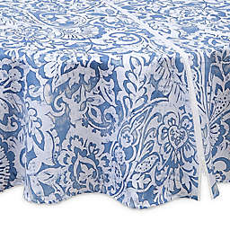 Paisley Scroll 70-Inch Round Indoor/Outdoor Tablecloth in Grey with Umbrella Hole