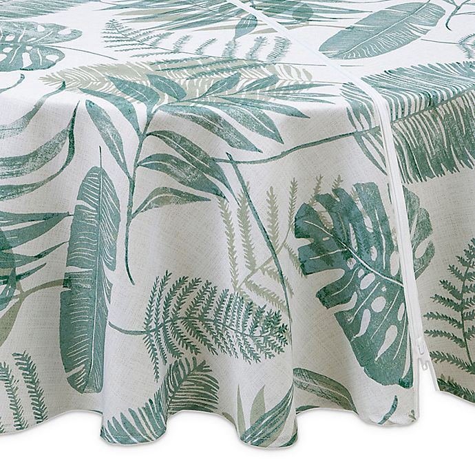 Alternate image 1 for Tranquil Palm 70-Inch Round Indoor/Outdoor Tablecloth with Umbrella Hole