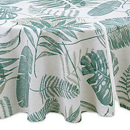 Tranquil Palm 70-Inch Round Indoor/Outdoor Tablecloth with Umbrella Hole