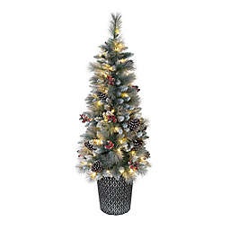 Puleo International™ 4.5-Foot Potted Pine Tree with Clear Lights in Green