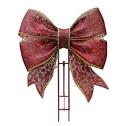 Puleo International™ Metal Bow with 100 Red Twinkle LED Lights