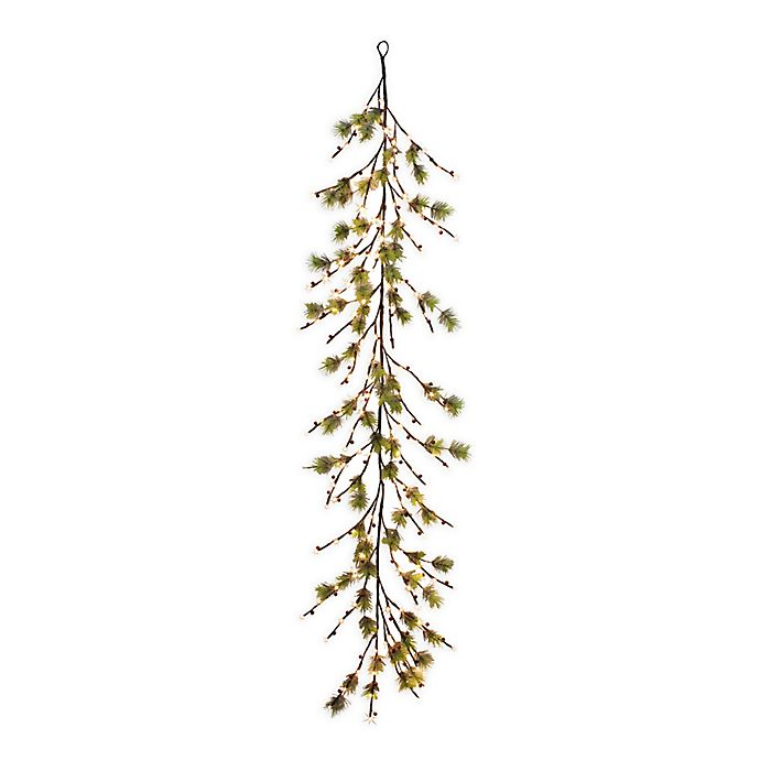 Alternate image 1 for Puleo International™ 6' Twig Garland with 160 Warm White LED Lights in Green