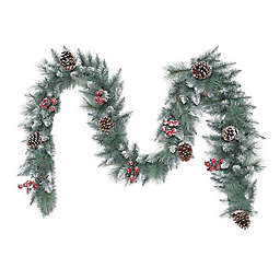 Puleo International 9-Foot Indoor/Outdoor Faux Sterling Pine Garland with Pinecones in Green