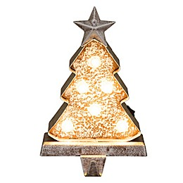Glitzhome Christmas Marquee LED Lighted Stocking Holder in Yellow
