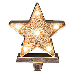 Glitzhome Star Marquee LED Lighted Stocking Holder in Yellow