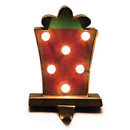 Glitzhome Gift Box Marquee LED Lighted Stocking Holder in Red