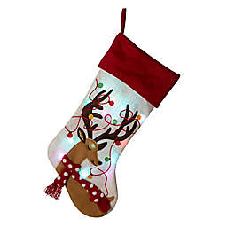 Glitzhome Reindeer LED Embroidered Christmas Stocking in White/Black/Red