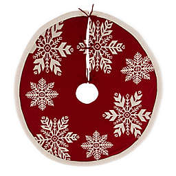 """Glitzhome 48"""" Knitted Snowflake Christmas Tree Skirt in Red"""