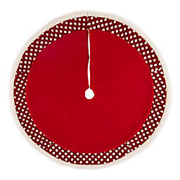 """Glitzhome 48"""" PomPom Christmas Tree Skirt in Red"""