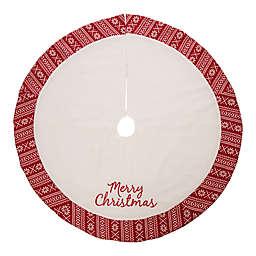"""Glitzhome 48"""" Fleece Christmas Tree Skirt in White"""