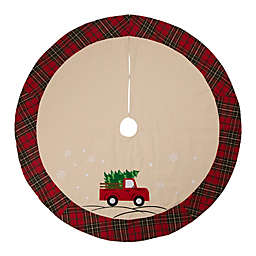 Glitzhome® Holiday Truck Christmas Tree Skirt in Natural