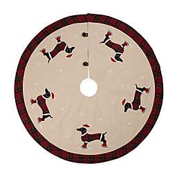 Glitzhome® Dachshund Christmas Tree Skirt in Natural
