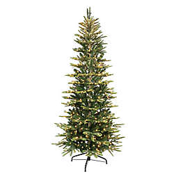 Puleo International® 6.5-Foot Slim Aspen Fir Artificial Christmas Tree w/ Clear Lights