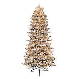 Puleo International® 6.5-Foot Flocked Slim Fir Artificial Christmas Tree w/ Clear Lights