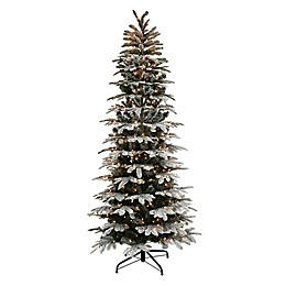 Puleo International™ Slim Flocked Fir Tree with Clear Lights in Green