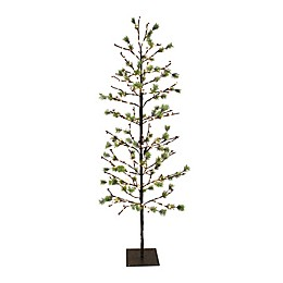 Puleo International Christmas Twig Tree with Twinkling White LED Lights in Green