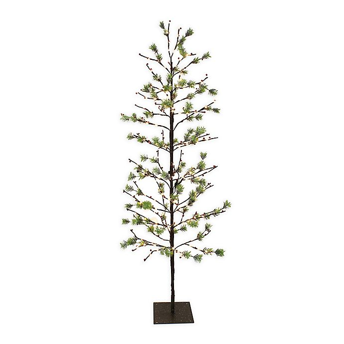 Alternate image 1 for Puleo International Christmas Twig Tree with Twinkling White LED Lights in Green