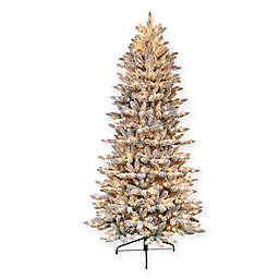 Puleo International® 7.5' Flocked Slim Fir Artificial Christmas Tree w/ Clear Lights