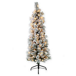 Puleo International® 4.5' Pre-Lit Flocked Portland Artificial Christmas Tree