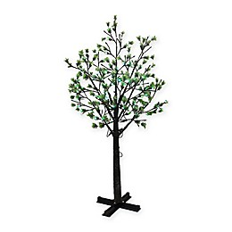 Puleo International 7.5-Foot Pre-Lit Artificial Tree in Green with Multicolor LED Lights