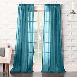 No. 918® Lourdes 84-Inch Rod Pocket Semi-Sheer Window Curtain Panel in Marine