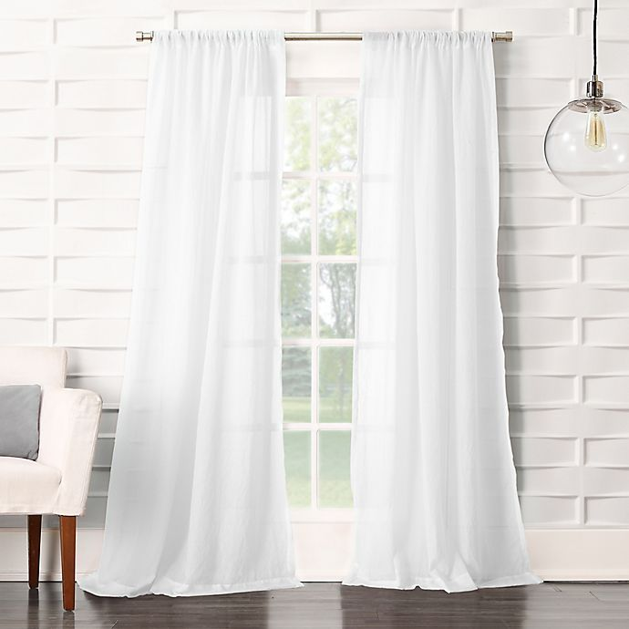 Alternate image 1 for No. 918® Lourdes 84-Inch Rod Pocket Semi-Sheer Window Curtain Panel in White