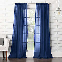 No. 918® Lourdes 95-Inch Rod Pocket Semi-Sheer Window Curtain Panel in Indigo