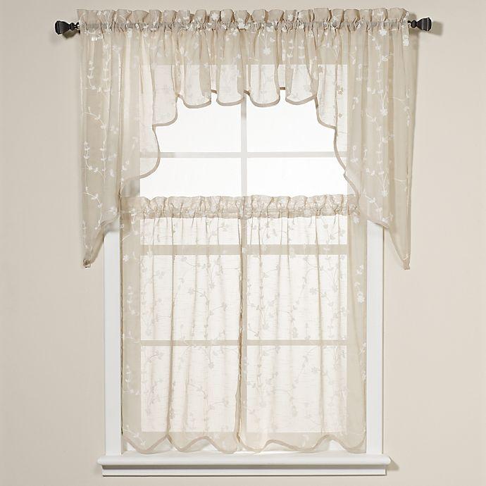 Savannah Taupe Kitchen Window Curtain Tiers