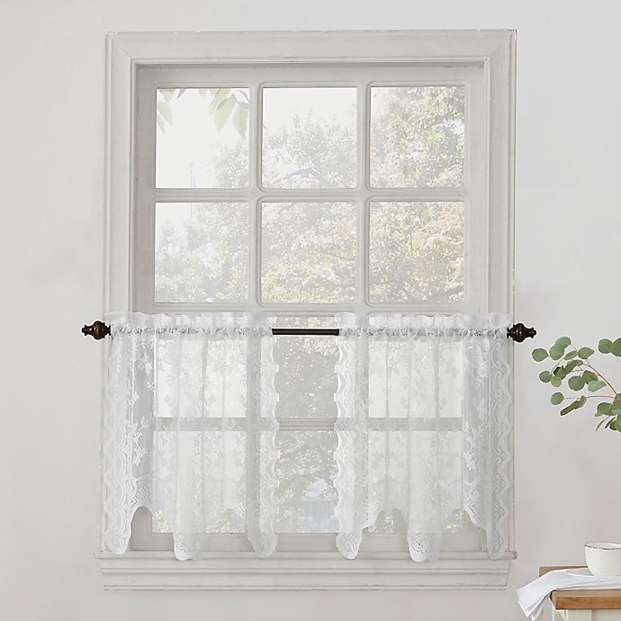 Alternate image 1 for No.918® Alison Lace Scalloped Sheer Kitchen Window Curtain Tier Pair