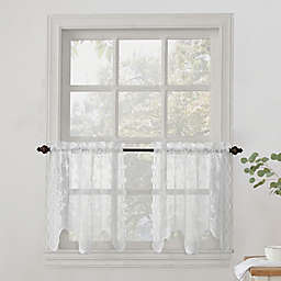 No.918® Alison Lace Scalloped Sheer Kitchen Window Curtain Tier Pair