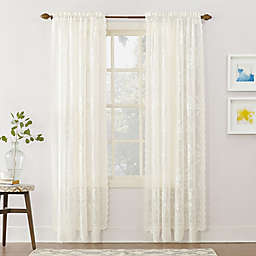 No.918® Alison Lace Scalloped 84-Inch Rod Pocket Sheer Window Curtain Panel in Ivory