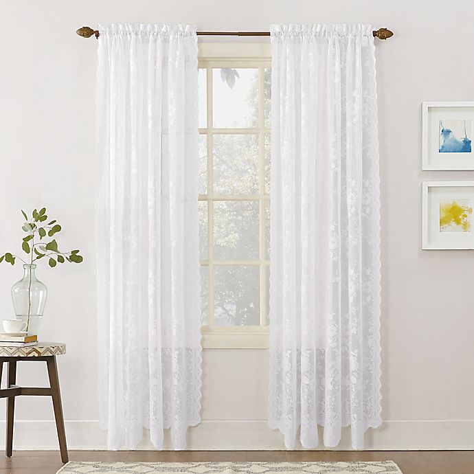 Alternate image 1 for No.918® Alison Lace Scalloped 63-Inch Rod Pocket Sheer Window Curtain Panel in White