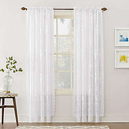 No.918® Alison Lace Scalloped 63-Inch Rod Pocket Sheer Window Curtain Panel in White