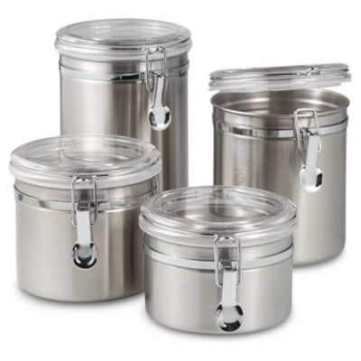 SALT™ Airtight Stainless Steel Canisters with Acrylic Tops (Set of 4)