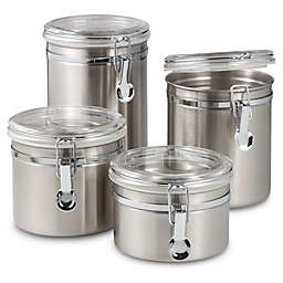 Salt Trade Air Stainless Steel Canisters With Acrylic Tops Set