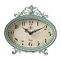 Creative Co Op Pewter Tabletop Clock In Aqua