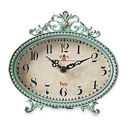 Creative Co-Op Pewter Tabletop Clock in Aqua