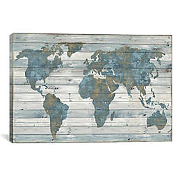 iCanvas World Map On Wood Canvas Wall Art