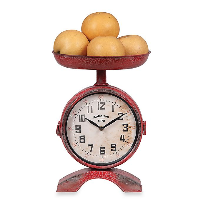 Creative Co-Op Metal Clock Scale in Red