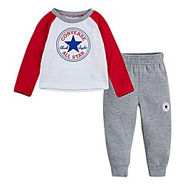 Converse® 2-Piece Chuck Patch Raglan Shirt and Pant Set in Red/White