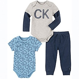 Calvin Klein® 3-Piece Bodysuits and Pant Set in Blue/Grey