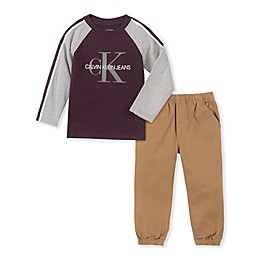 Calvin Klein® 2-Piece Raglan Shirt and Jogger Pant Set in Burgundy