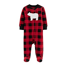 carter's Preemie Bear Plaid Zip-Front Microfleece Sleep & Play Footed Pajama in Red