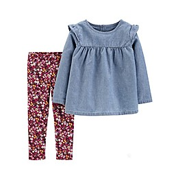 carter's® 2-Piece Chambray Top and Floral Leggings Set