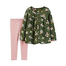 carter's® 2-Piece Floral Top and Leggings Set in Pink/Olive