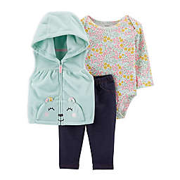 carter's® 3-Piece Bear Little Vest, Bodysuit, and Pant Set in Turquoise/Grey