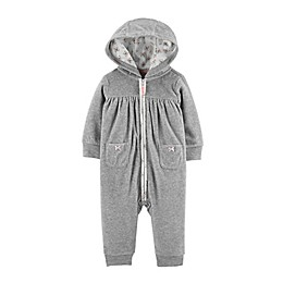 carter's® Heart Hooded Zip-Up Fleece Jumpsuit in Grey