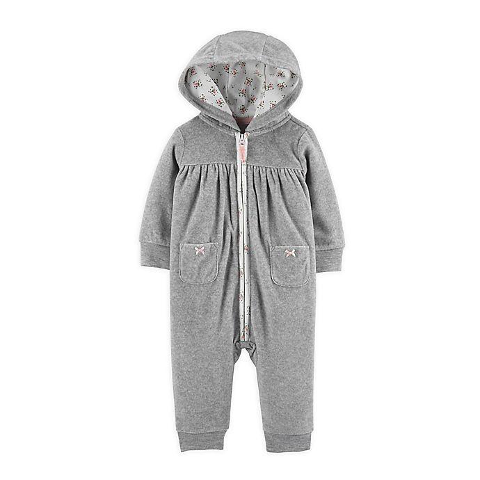 Alternate image 1 for carter's® Heart Hooded Zip-Up Fleece Jumpsuit in Grey