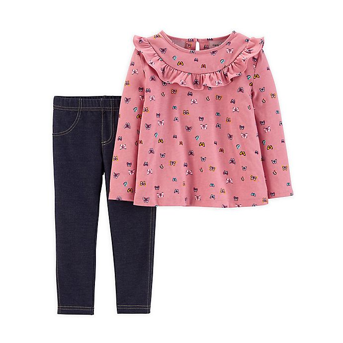 Alternate image 1 for carter's® 2-Piece Butterfly Ruffle Top and Knit Legging Set